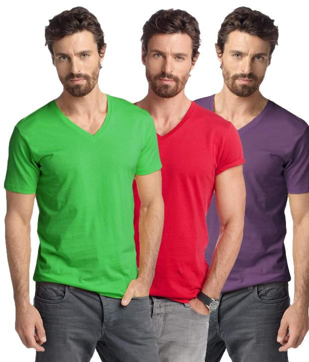 BTR Pack Of Grey-Red-Purple V-Neck T Shirt