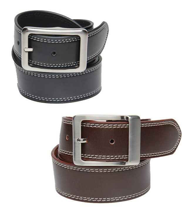Walletsnbags Classy Men's Black and Brown Belts Combo