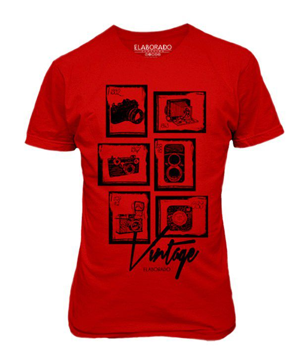 Elaborado Photographer's Delight Red Printed T-Shirt