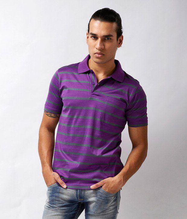 Proline Stylish Purple Striped Polo T Shirt