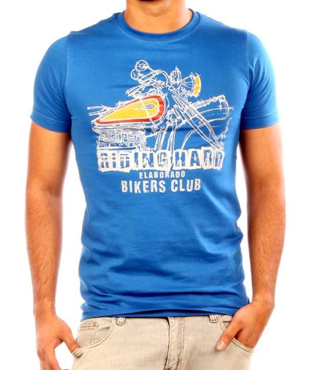 Elaborado Bike Lovers Blue Printed T-Shirt