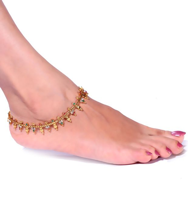 Antique Impressions Stunning Golden Red and Green Beaded Anklets