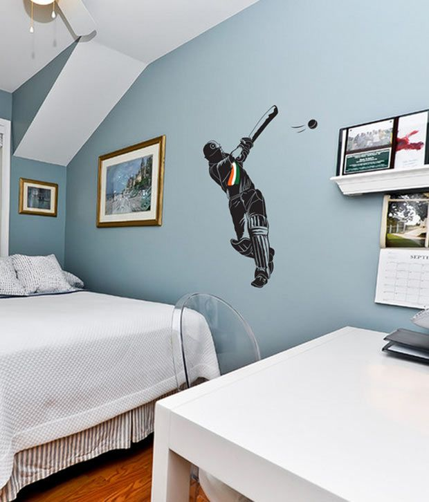 WallDesign Cricket Is Life Black Wall Sticker- 3 Ft