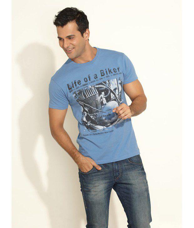 Flying Machine Blue Biker Life Print Cotton T-Shirt