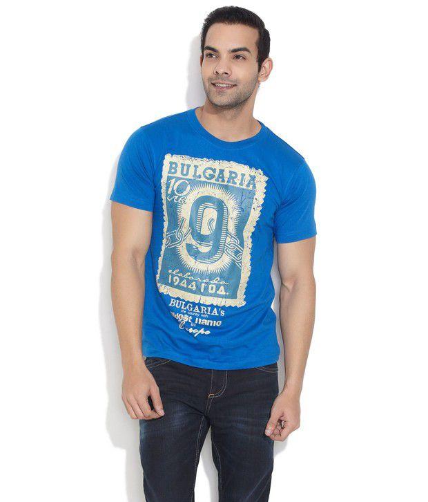 Elaborado Blue Bold Bulgaria Print T- Shirt