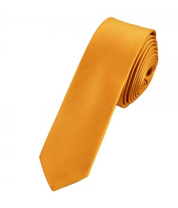 Civil Outfitters Smart Skinny Gold Plain NeckTie with Key Chain Dairy