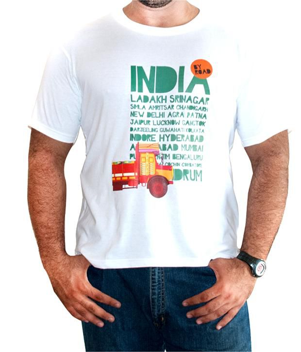 The Elephant Company White India By Road T-Shirt