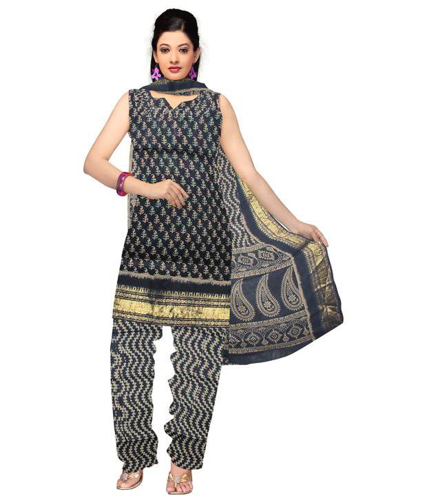 Unnati Black Handloom Cotton Dress Material