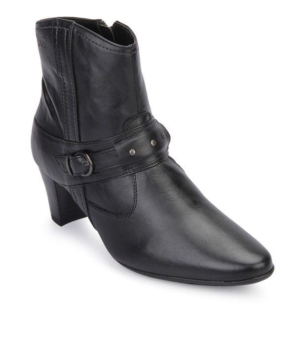 La Briza Black Leather Ankle Length Boots