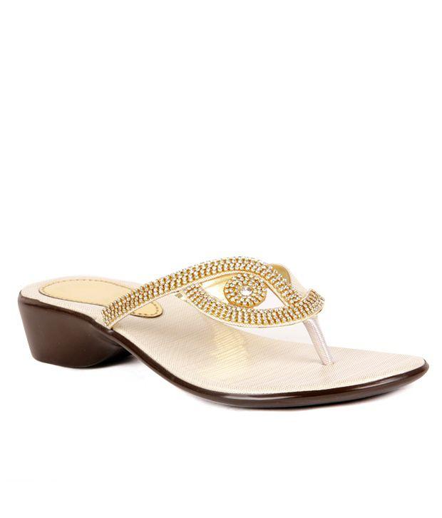 Do Bhai-ShoeBazaar Stylish Golden Flats