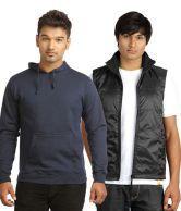 Campus Sutra Pack Of Navy Sweatshirt & Black Jacket