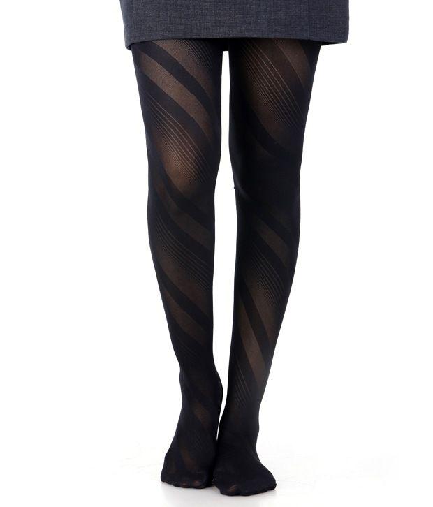 Miss Chase Stripes Design Black Panty Hose
