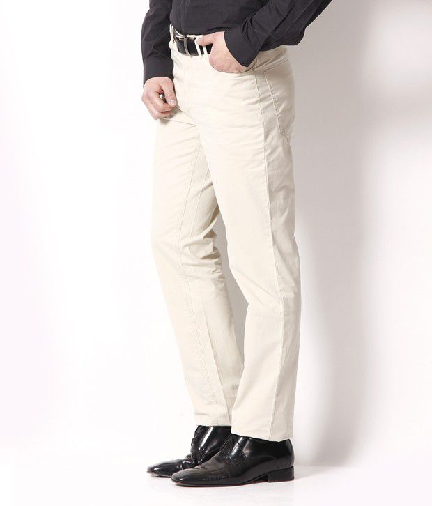 Wills Lifestyle Beige Smart Chino Trousers & Chinos
