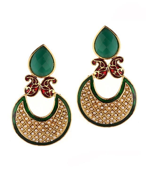 Trinketbag Green Paisley Half Moon Earrings