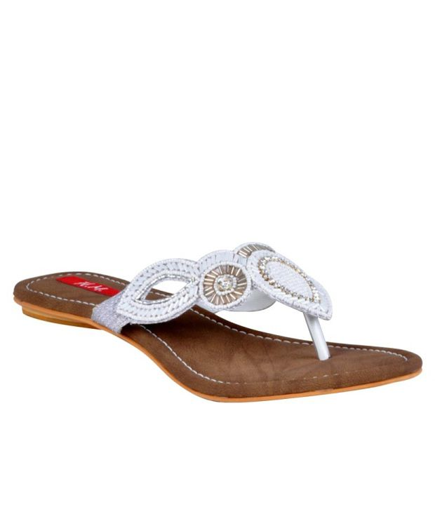 HM Synthetic White Beaded Flats