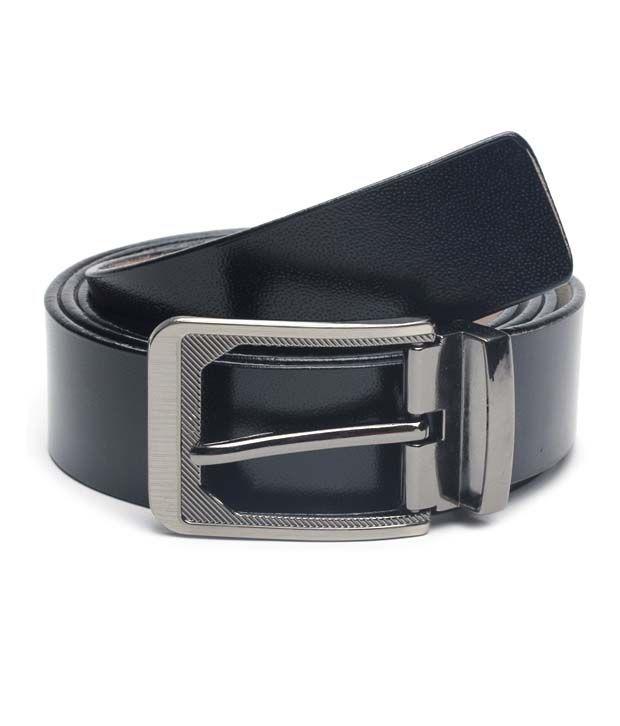 BLE Plain Black Leather Belt For Men