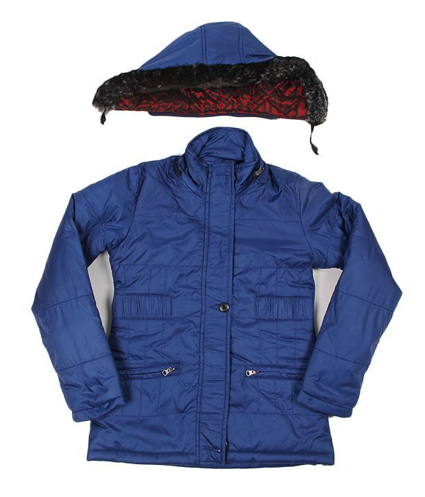 Okane Exclusive Navy Hooded Jacket For Kids