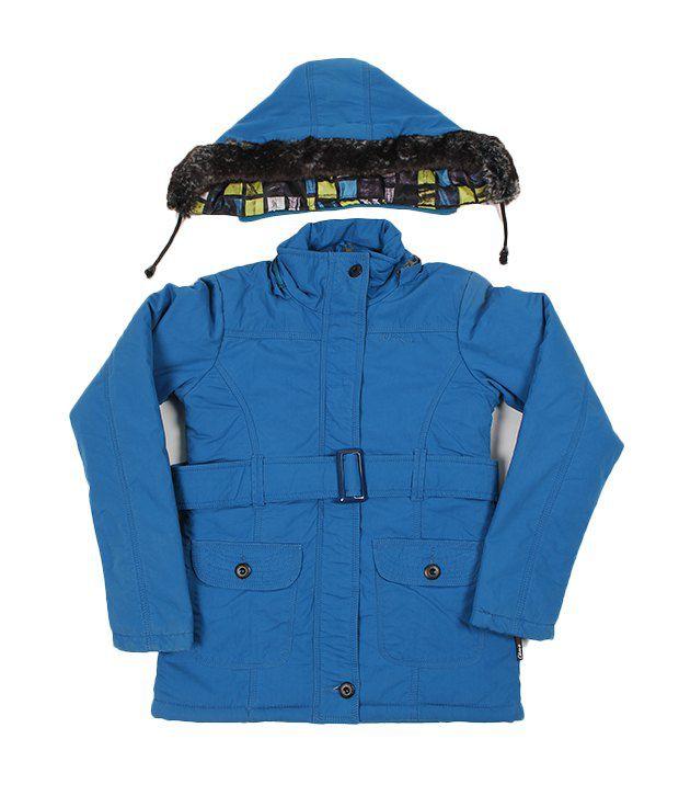 Okane Exclusive Blue Hooded Jacket For Kids