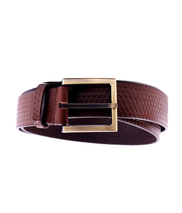 Pacific Gold Brown Textured Leather Belt