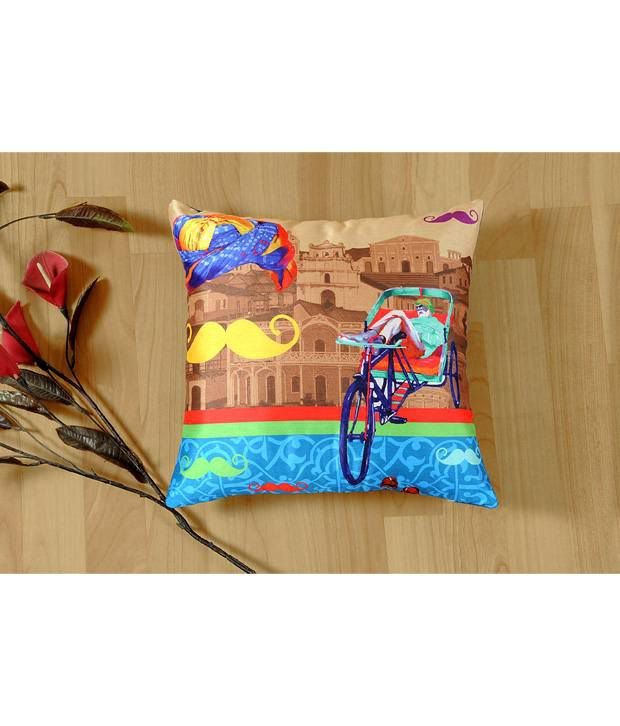 Shahenaz Home Shop Multicolour Poly Dupion Cushion Cover