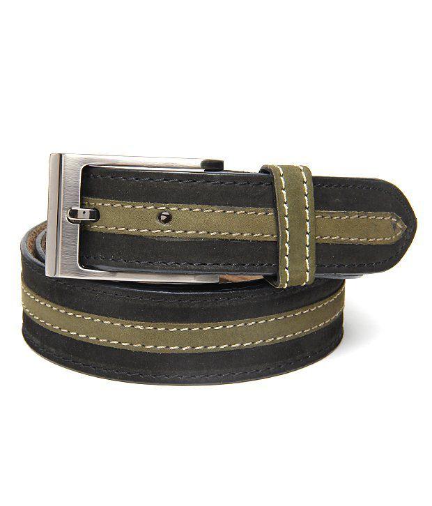 Walletsnbags Amazing Black & Green Nubuck Leather Belt For Men