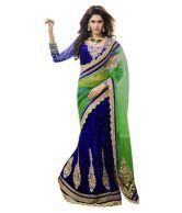 Triveni Superb Embroidered Net Velvet Lehenga Saree