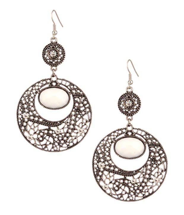 Voylla Elegant Floral Mesh White Chandelier Earrings