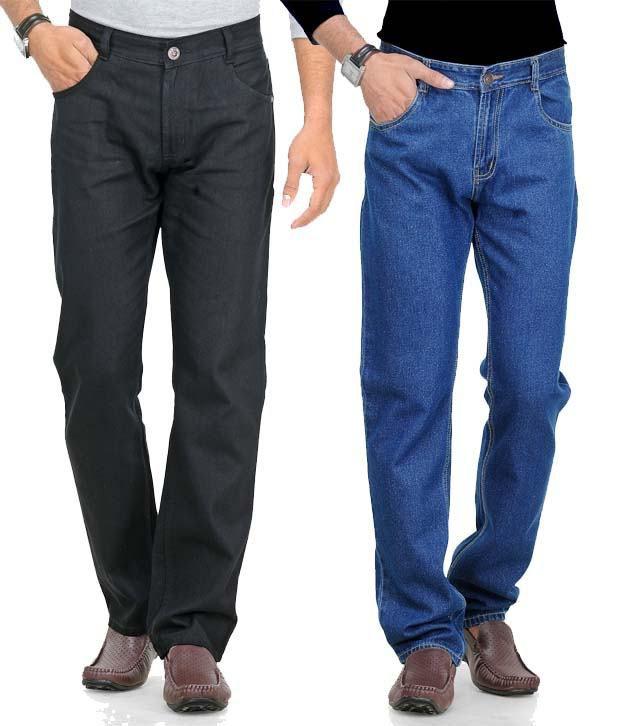 Phoenix Black-Blue Pack Of 2 Cotton Jeans