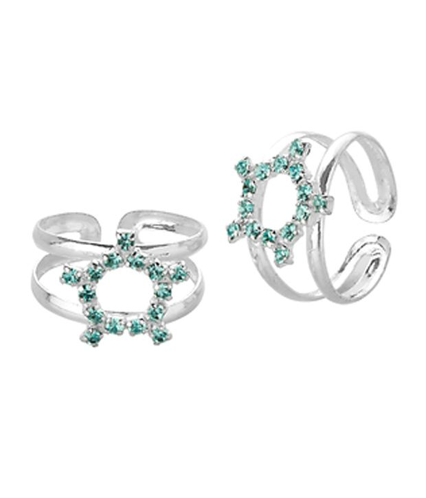 Voylla Toe Rings With Sparkling Light Blue Halo Design