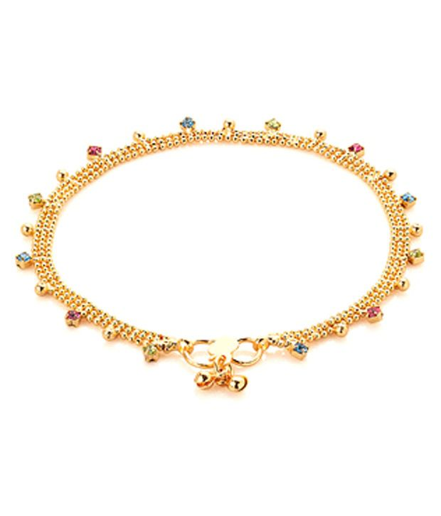 Voylla Gold Toned Anklets With Sparkling Multicolour Stones