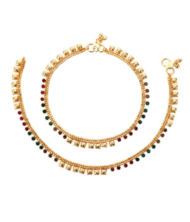 Voylla Gold Toned Anklets With CZ
