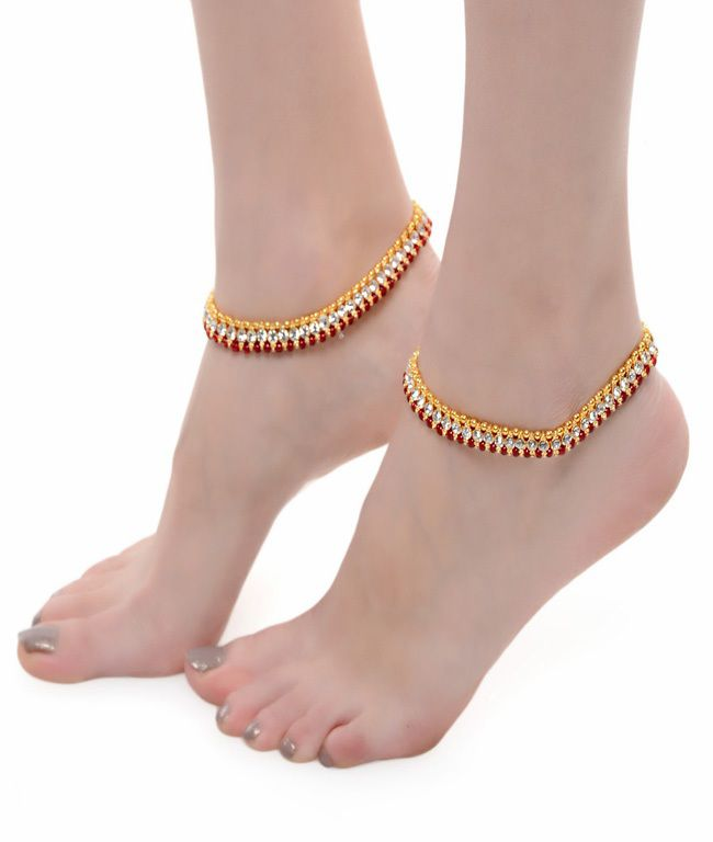 ShinningDiva Pretty Red Pair of Anklet