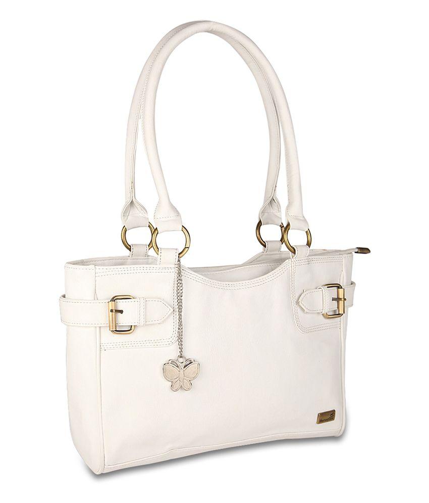 Butterflies White Faux Leather Shoulder Bag