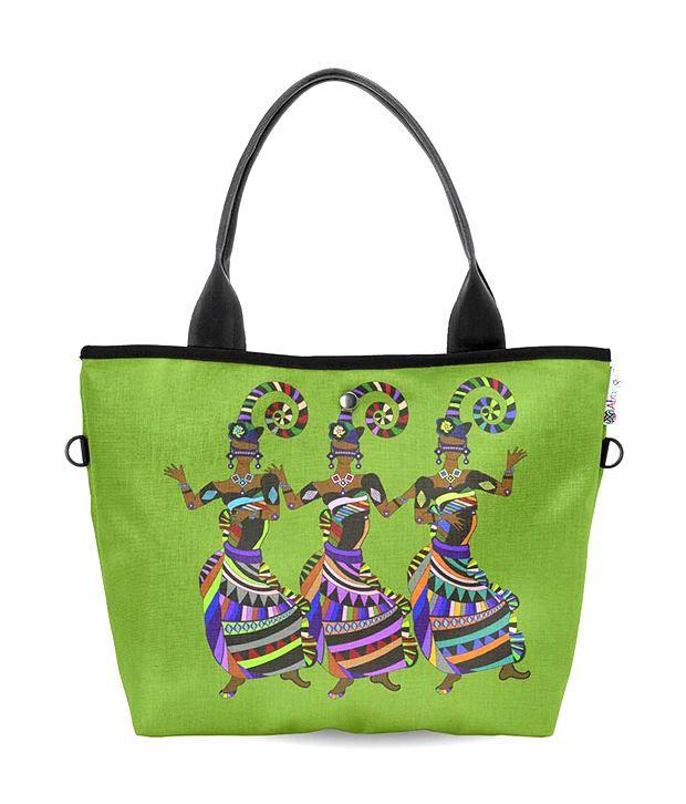 Atrangee Wide Green Dancing Girls Tote Bag