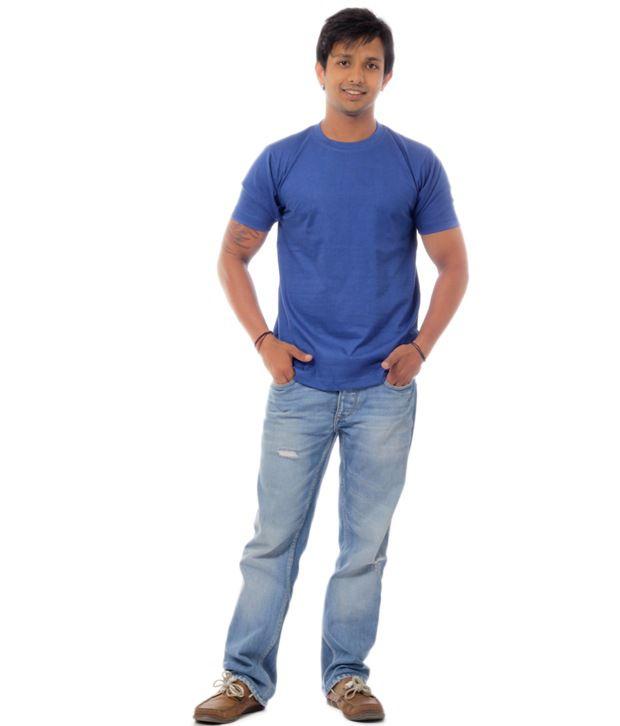 Davie Jones Men's Round Neck T-Shirt-Royal Blue