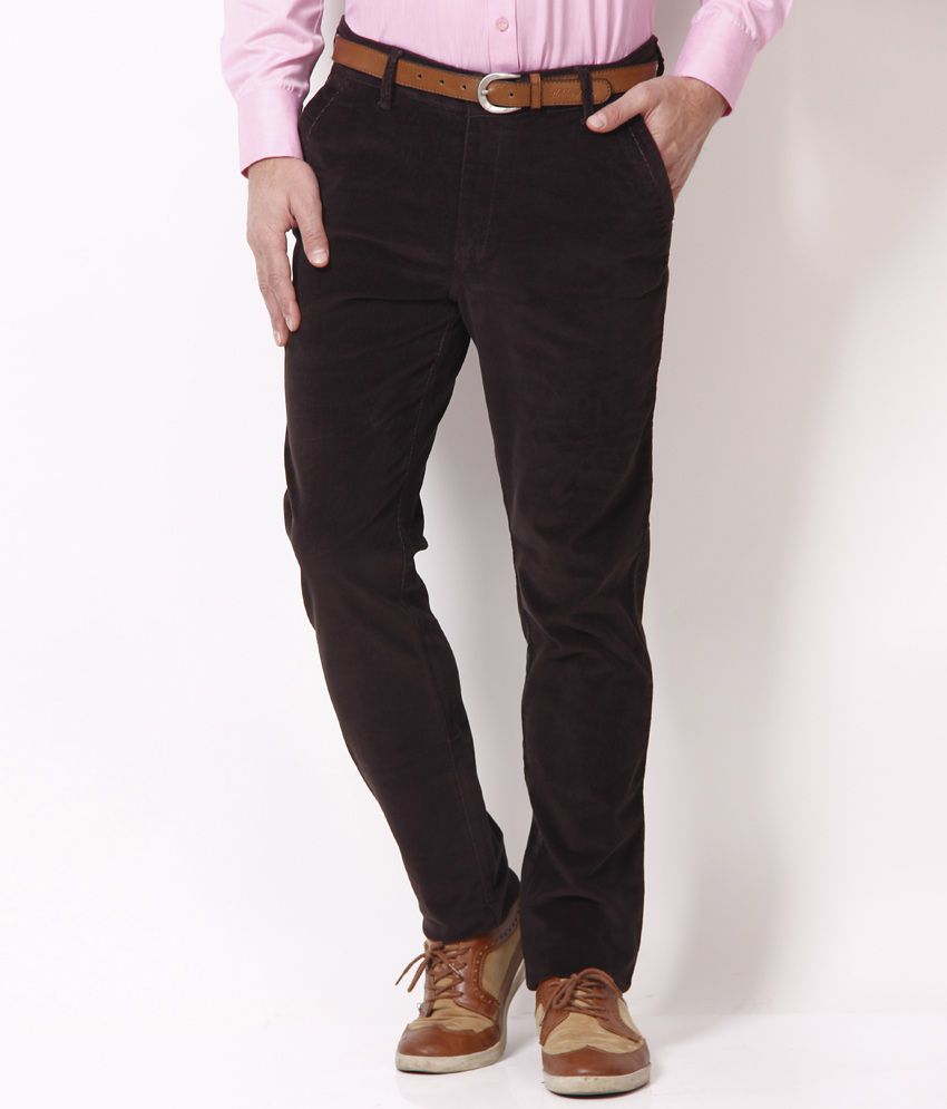 Urban Navy Smart Deep Brown Cross Pocket Corduroy