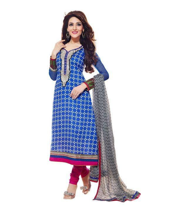 CottonBazaar Blue-Color Pure Cotton Semi-Stitched Suit