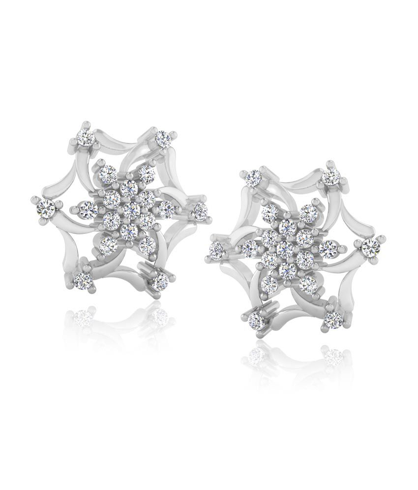 Forever Carat Real Diamond Bloom 925 Sterling Silver Earrings