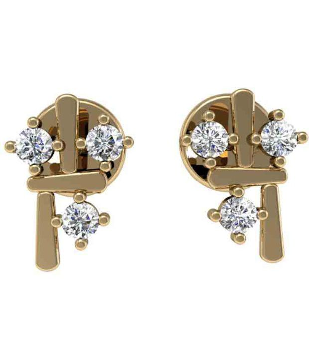 Jewel Hub SI - GH CERTIFIED  Diamonds Earrings 0.18 ct / 3.01  gm 18k Gold