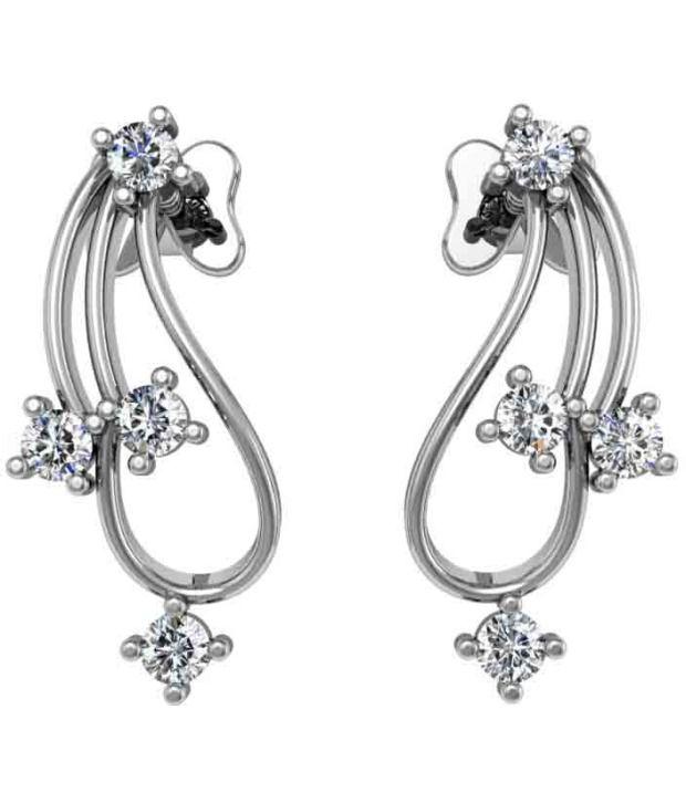 Jewel Hub SI-IJ CERTIFIED  Diamond Earrings 0.24 ct / 1.97 gm  Sterling Sliver 925