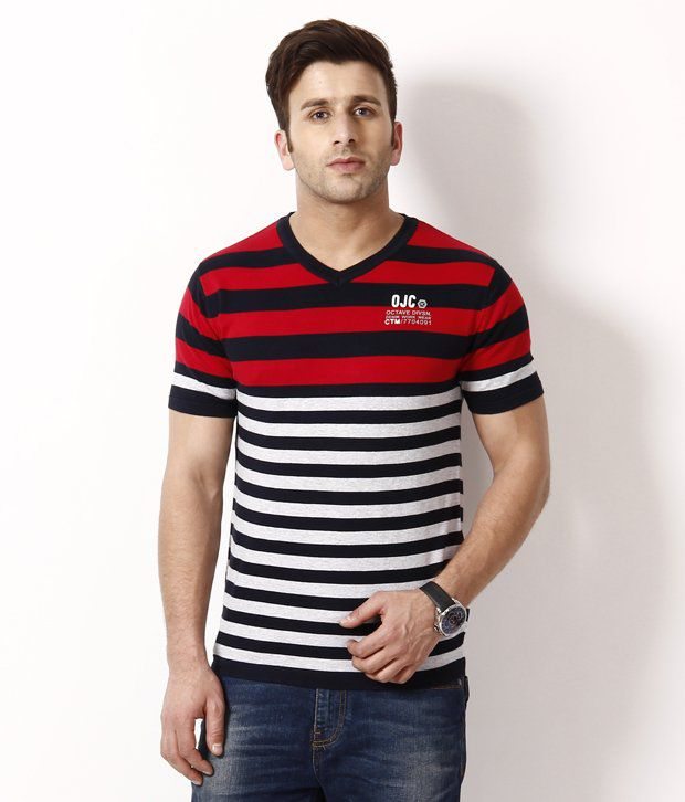 Octave Trendy Red Striped T Shirt