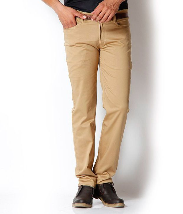 Harvest Beige Chinos With Free Sports Watch