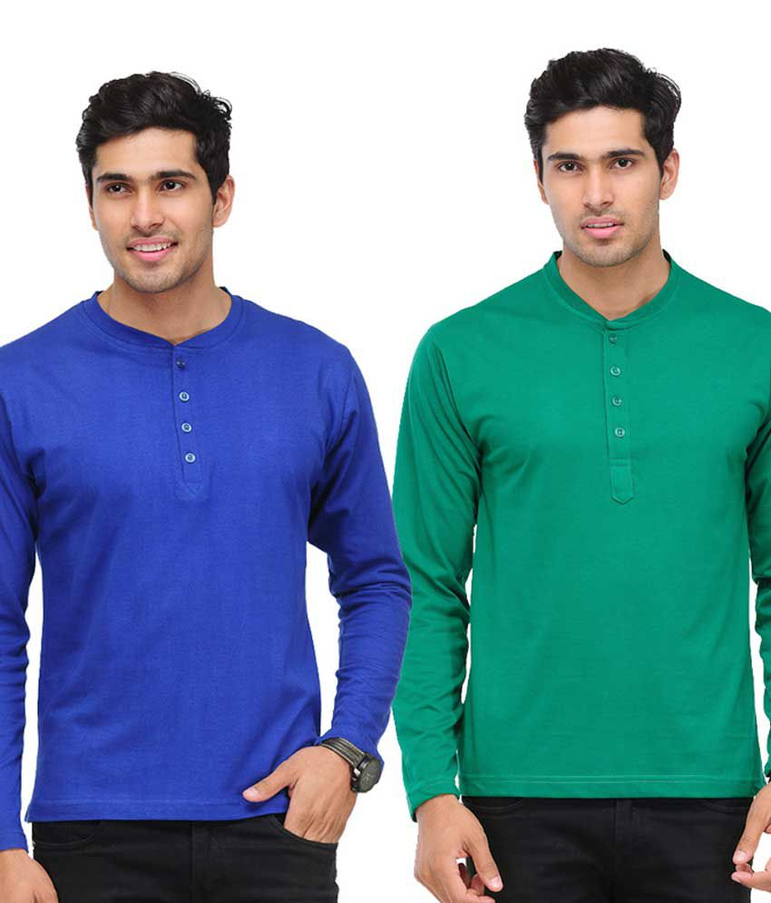TSX Blue & Green Full Sleeves T-Shirts Pack of 2