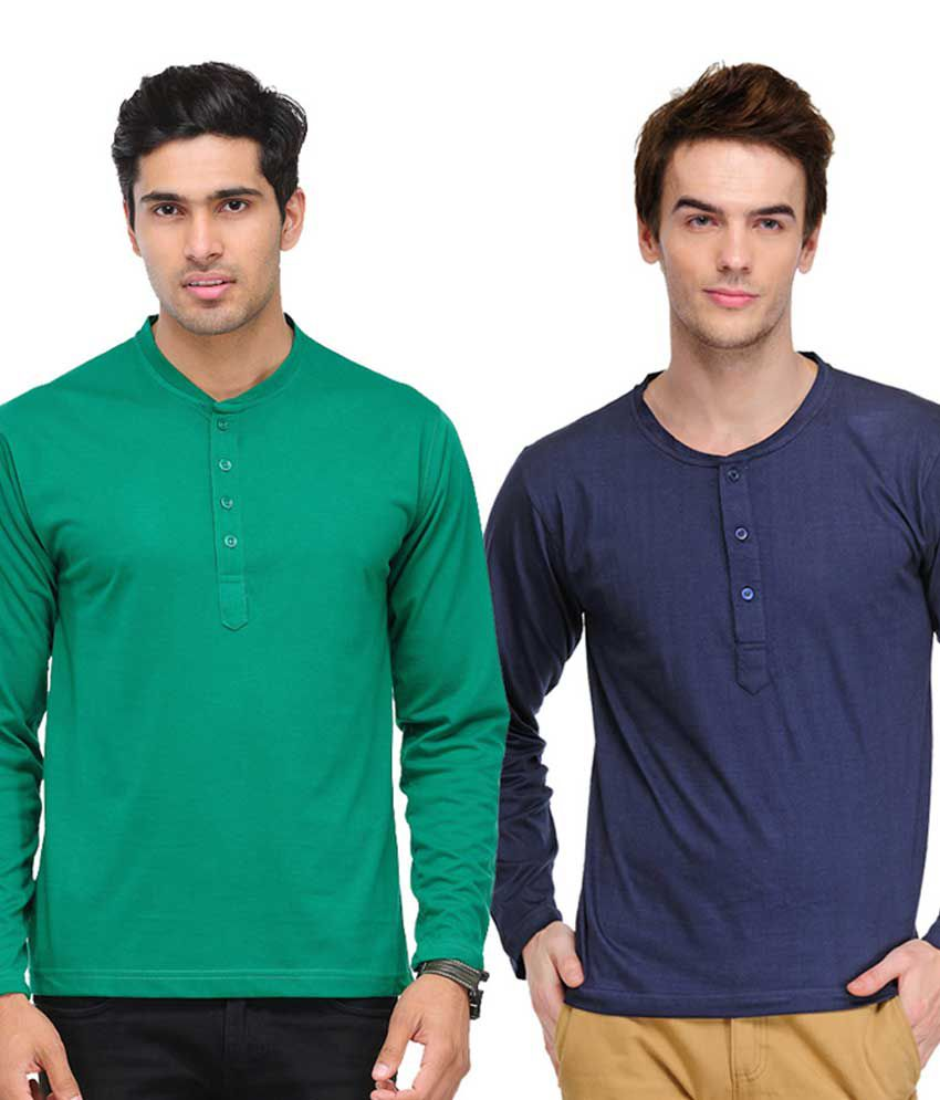TSX Green & Navy Blue Full Sleeves T-Shirts Pack of 2