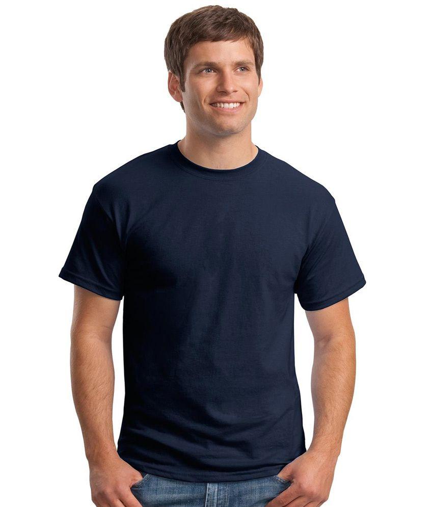Merlin Plain Crew Neck Navy Blue T-Shirt For Men - Buy ...