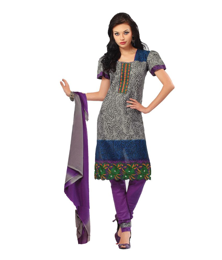 161da401f6 Vineberi Unstitched Embroidered Grey Cotton Dress Material With Chiffon  Dupatta - Buy Vineberi Unstitched Embroidered Grey Cotton Dress Material  With ...