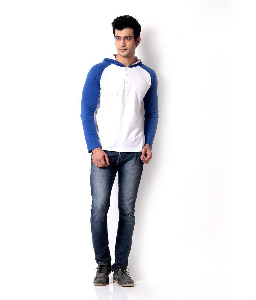 Leana R Blue-White Hooded Henley Tshirts