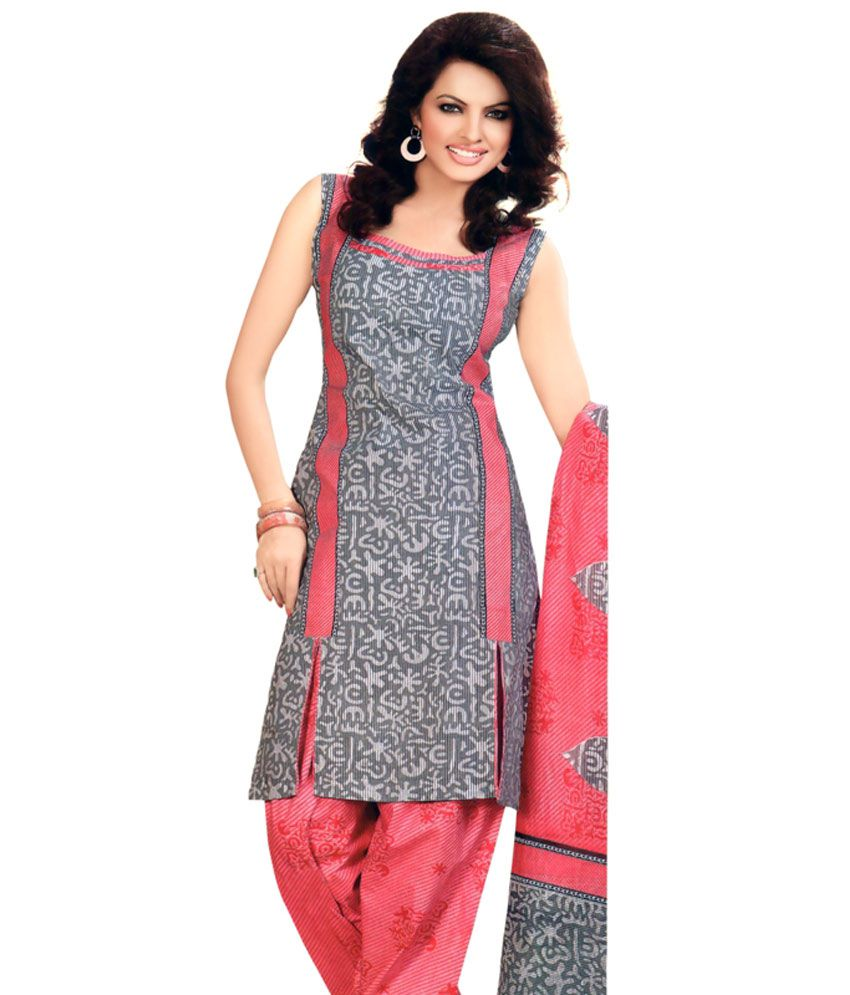 ethnicandstyle designer sarees grey and pink 3 piece cotton dress material buy ethnicandstyle. Black Bedroom Furniture Sets. Home Design Ideas