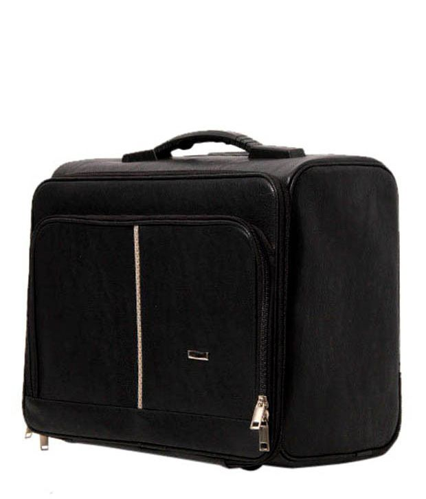 WalletsnBags Black Textured Finish Trolley Luggage