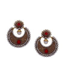 Hyderabad Jewel Classic Red Pearls Hanging Earrings
